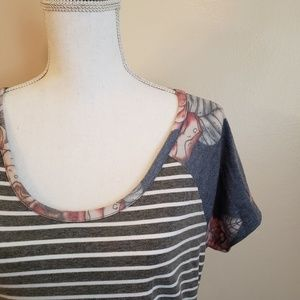 Floral & Stripes Colorblock Short Sleeve Tee